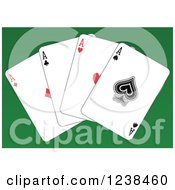 Clipart Of Ace Playing Cards On Green Royalty Free Vector Illustration