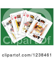 Clipart Of Jack Playing Cards On Green Royalty Free Vector Illustration