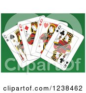 Clipart Of Queen Playing Cards On Green Royalty Free Vector Illustration