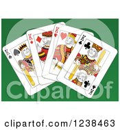 Clipart Of King Playing Cards On Green Royalty Free Vector Illustration