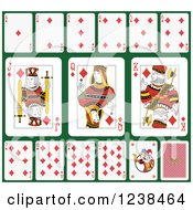 Clipart Of Diamond Playing Cards On Green 2 Royalty Free Vector Illustration
