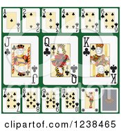 Clipart Of Club Playing Cards On Green Royalty Free Vector Illustration