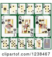 Clipart Of Spade Playing Cards On Green Royalty Free Vector Illustration