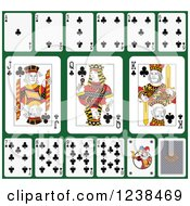 Clipart Of Club Playing Cards On Green 2 Royalty Free Vector Illustration