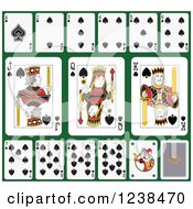Clipart Of Spade Playing Cards On Green 2 Royalty Free Vector Illustration