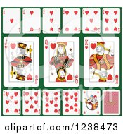 Clipart Of Heart Playing Cards On Green 2 Royalty Free Vector Illustration
