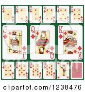 Clipart Of Diamond Playing Cards On Green Royalty Free Vector Illustration