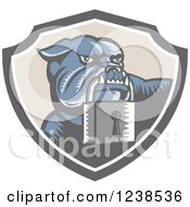 Clipart Of A Retro Woodcut Bulldog With A Padlock In A Security Shield Royalty Free Vector Illustration