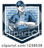 Retro Woodcut Mason Man Laying Bricks In A Shield