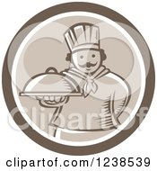 Clipart Of A Retro Brown Woodcut Chef Holding Out A Cloche Platter In A Circle Royalty Free Vector Illustration