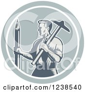 Clipart Of A Retro Woodcut Architect Holding A T Square And Pencil In A Circle Royalty Free Vector Illustration