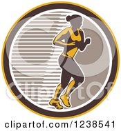 Clipart Of A Retro Female Marathon Runner In A Brown White And Yellow Circle Royalty Free Vector Illustration