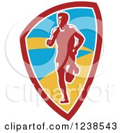 Clipart Of A Retro Male Marathon Runner In A Shield Royalty Free Vector Illustration