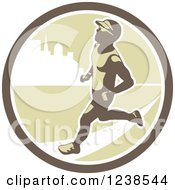 Clipart Of A Retro Male Marathon Runner In An Urban Circle Royalty Free Vector Illustration