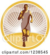 Clipart Of A Retro Male Marathon Runner In A Sunny Circle Royalty Free Vector Illustration