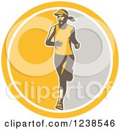 Clipart Of A Retro Female Marathon Runner In A Yellow And Gray Circle Royalty Free Vector Illustration