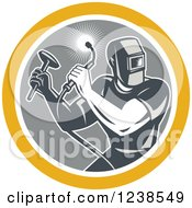 Retro Male Welder With A Torch And Hammer In A Circle