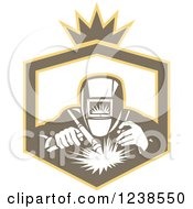 Clipart Of A Retro Welder Working In A Shield Royalty Free Vector Illustration