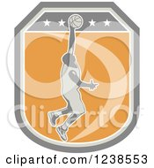 Clipart Of A Retro Basketball Player On A Shield Royalty Free Vector Illustration