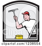Cartoon Window Washer Man Using A Squeegee