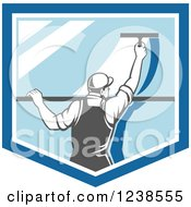 Clipart Of A Retro Window Washer Using A Squeegee On A Window Shield Royalty Free Vector Illustration