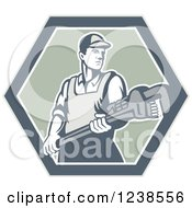 Clipart Of A Retro Plumber Holding A Monkey Wrench In A Hexagon Royalty Free Vector Illustration