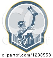 Clipart Of A Retro Plasterer Man In A Shield Royalty Free Vector Illustration