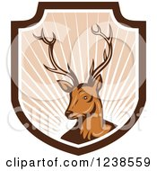 Clipart Of A Deer Stag In A Shield Of Rays Royalty Free Vector Illustration by patrimonio