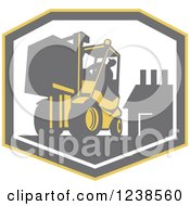 Clipart Of A Retro Worker Operating A Forklift Over A Factory Shield Royalty Free Vector Illustration by patrimonio