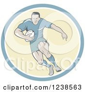 Clipart Of A Cartoon Rugby Player Running In A Circle Royalty Free Vector Illustration