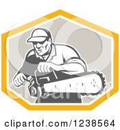 Clipart Of A Retro Arborist Using A Saw In A Crest Royalty Free Vector Illustration