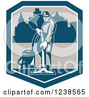 Retro Janitor Operating A Carpet Cleaner Over A City In A Shield