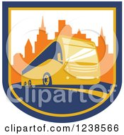 Clipart Of A Coach City Bus In A Shield With Skyscrapers Royalty Free Vector Illustration
