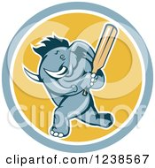 Clipart Of A Blue Elephant Cricket Batsman In A Circle Royalty Free Vector Illustration by patrimonio