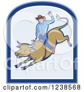 Clipart Of A Cartoon Rodeo Cowboy Riding A Bull Royalty Free Vector Illustration