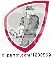 Clipart Of A Retro Male House Painter Holding A Brush In A Shield Royalty Free Vector Illustration