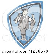 Clipart Of A Cartoon Fisherman Holding Up His Catch In A Blue Shield Royalty Free Vector Illustration