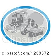Clipart Of A Retro Man Operating A Snow Plow In An Oval Royalty Free Vector Illustration by patrimonio