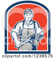 Clipart Of A Retro Butcher Sharpening A Knife On A Shield Royalty Free Vector Illustration by patrimonio
