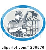 Clipart Of A Retro Carpenter Over A Building Frame In An Oval Royalty Free Vector Illustration by patrimonio