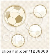 Clipart Of A Sepia Soccer Ball Infographic Design Over Checkers Royalty Free Vector Illustration by elaineitalia