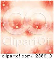 Clipart Of A Red Flower Background With Sunshine And Flares Royalty Free Vector Illustration