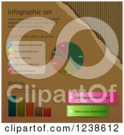 Clipart Of Infographic Designs And Sample Text Over Corrugated Cardboard Royalty Free Vector Illustration by elaineitalia