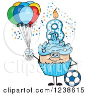 Clipart Of A Caucasian Blue Boys Eighth Birthday Cupcake With A Soccer Ball And Balloons Royalty Free Vector Illustration