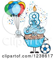Clipart Of A Black Blue Boys Eighth Birthday Cupcake With A Soccer Ball And Balloons Royalty Free Vector Illustration