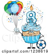 Clipart Of A Latino Blue Boys Eighth Birthday Cupcake With A Soccer Ball And Balloons Royalty Free Vector Illustration