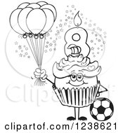 Black And White Girls Eighth Birthday Cupcake With A Soccer Ball And Balloons