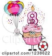Clipart Of A Latina Pink Girls Eighth Birthday Cupcake With A Soccer Ball And Balloons Royalty Free Vector Illustration