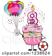 Clipart Of A Caucasian Pink Girls Eighth Birthday Cupcake With A Soccer Ball And Balloons Royalty Free Vector Illustration