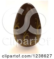 Clipart Of A 3d Ornate Floral Chocolate Easter Egg Royalty Free Illustration